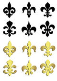 Fleur de lis in black and gold — Stock Vector