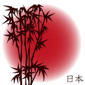 Bamboo on red sun - japanese theme — Stock Vector