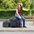 Hitchhiking, discouragement — Stock Photo