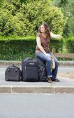 Woman making hitchhiking — Stock Photo