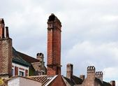 Chimneys typical of flanders — Stock Photo