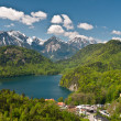 Alpsee lake and Hohenschwangau castle - Stock Photo