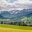 A view to Buching village in Bavarian Alps - Stock Photo