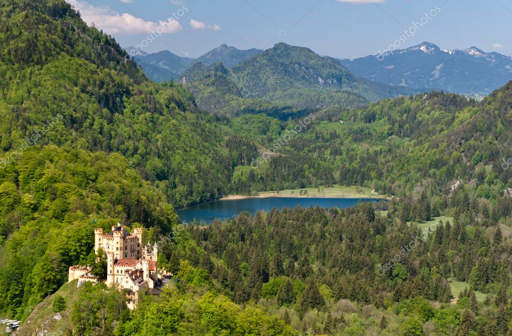 Hohenschwangau Castle and Schwansee lake — Stockfoto #11793767
