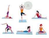 Women Practicing Yoga — Stock Vector