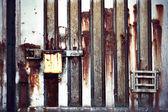 Rusty metal container door — Stock Photo