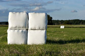 Hay bales in plastic — Stock Photo
