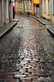 Wet street in Tallinn — Stock Photo