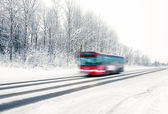 Red bus in winter — Foto Stock
