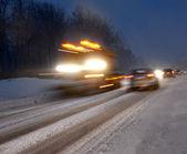 Winter evening traffic — Stock Photo