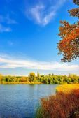 Autumn landscape at the lake — Stock Photo