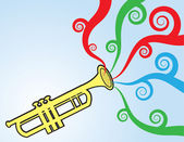 Trumpet Playing Colors — Stock Vector