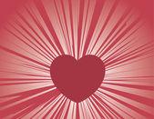 Rayos de corazón — Vector de stock