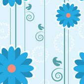 Blue Flower Pattern Lines — Stock Vector
