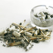 Smoked cigarettes,ash,matches and ash-tray — Stock Photo