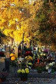 Cemetery with decorated tombs at autumn — Foto Stock