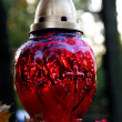 Red everlighting candel on tomb in cemetery — Stock Photo