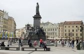 Monument of Mickiewicz great Polish poet in Krakow — Stock Photo