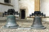 Old,brass bells of St.Egidia church in Bardejov — Stock Photo