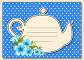 Vector illustration of vintage ceramic tea pot with beautiful flowers — Stock Vector