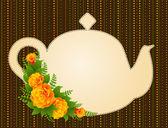 与美丽的花朵复古陶瓷茶壶矢量插画 — 图库矢量图片