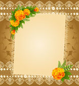 Vintage background with lace ornaments and flowers. — Wektor stockowy