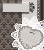 Vintage lace ornaments on background for Valentine's Day — Wektor stockowy