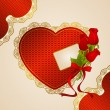 Vintage background with flowers and ornaments for Valentine&amp;#039;s day -  