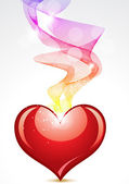 Abstract heart with colorful smoke — Stock Vector