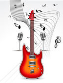 Abstract mysical background with guitar — Stock Vector