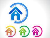 Abstract home icon button — Stock Vector