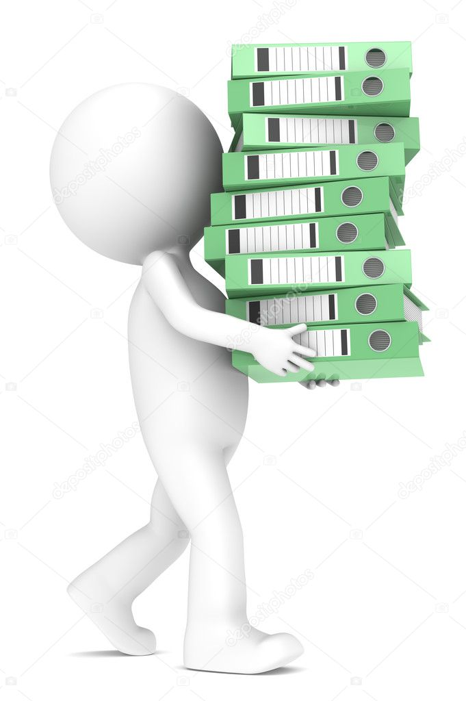 3D little human character carrying a large green pile of Ring Binders. series.  Stock Photo #11063227