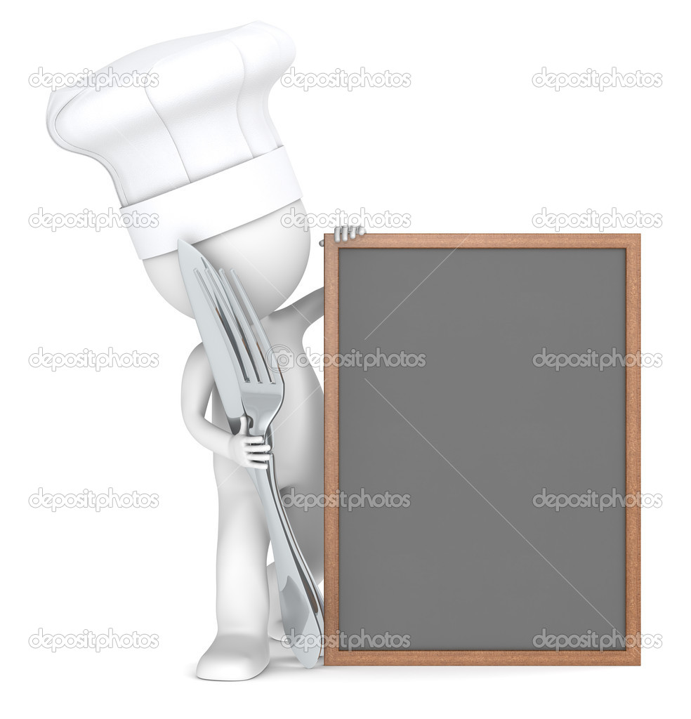 3D little human character the Chef with an empty Menu Board. Copy space. — Stock Photo #11063310