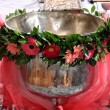 Christening bowl with  flower decoration - Foto Stock