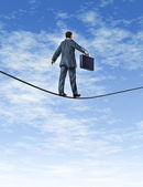 Business man Walking A Tightrope — Stock Photo