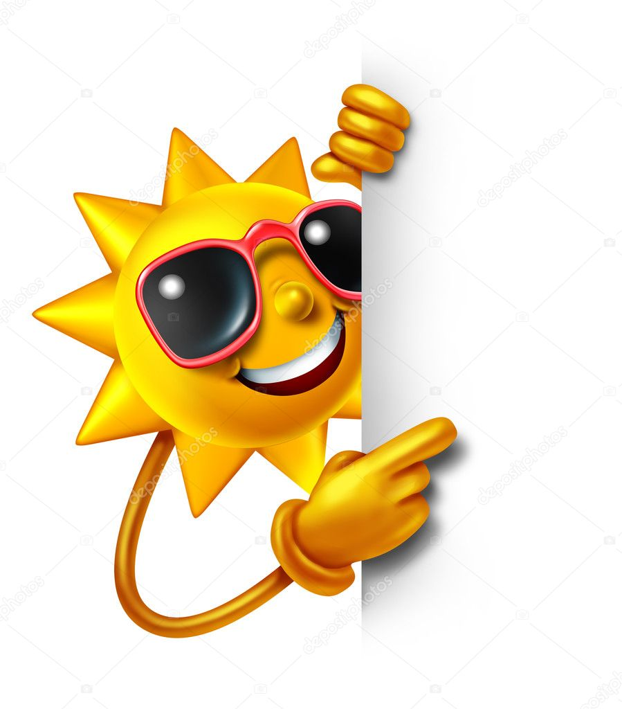 Sun summer fun as a three dimensional cartoon character holding a blank white sign as a symbol of leisure sunny vacation time and advertisement or communication of holiday relaxation. — Stock Photo #10795409