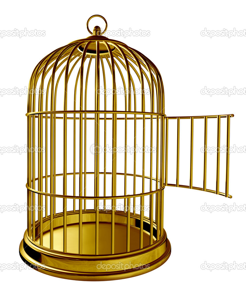 Open bird cage as a golden brass metal prison with an opened door as a symbol of freedom and release isolated on white background. — Stock Photo #11274610