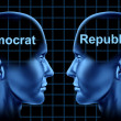 American Politics With Democrat and Republican - Stock Photo