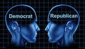 American Politics With Democrat and Republican — Stock Photo