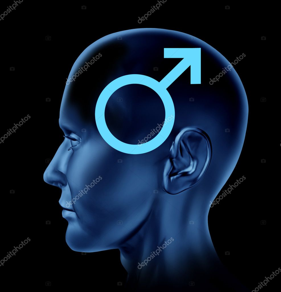 Male icon and a concept of a man with a human head on a black background. — Stock Photo #11293803