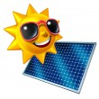 Sun With Solar Panel — Stock Photo