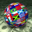 Stock Photo: World Economy sphere flags