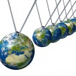 Pendulum With Europe Globe Affecting World Economy — Stock Photo #11622217