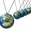 Pendulum With Europe Globe Affecting World Economy — Stock Photo