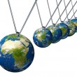 Pendulum with Africa and the Middle East affecting world economi - Stock Photo