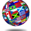 World flags sphere Floating — Stock Photo