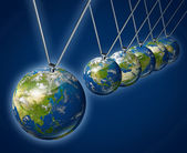 Pendulum with Asia as the economic force — Stock Photo