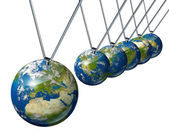 Pendulum With Europe Globe Affecting World Economy — Stock Photo