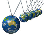 Pendulum With Australia And World Economy — Stock Photo