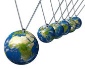 Pendulum with Africa and the Middle East affecting world economi — Stock Photo